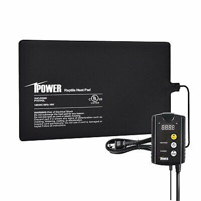 """iPower 8""""x12"""" Under Tank Heat pad and Digital Thermostat Combo Set for Reptiles"""