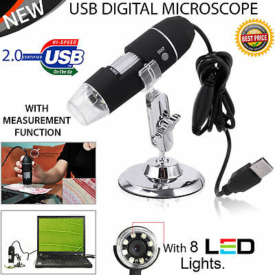 Por USB Digital Microscope 40X-1000X Electron Microscope W/8 LED light&Bracket