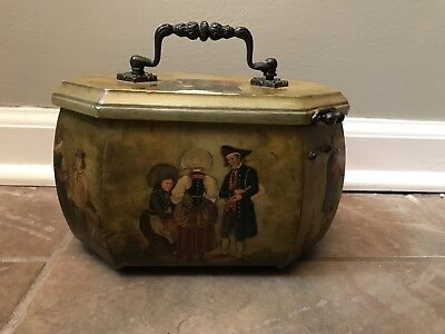 Antique 1800's French Sewing Trinket Jewelry Box Scenic Lithograph Art Covered