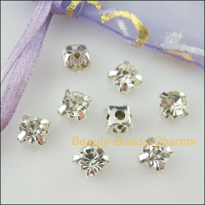 30Pcs Loose Crystal Handmade Sew on Claw Rhinestone White Silver Plated 6mm