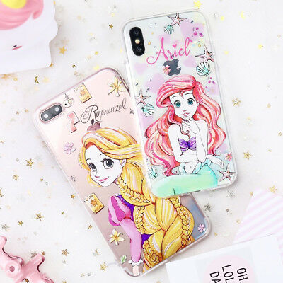 Disney Silicone Case Mermaid Princess Cartoon TPU Cover For iPhone X 8 7 6 Plus