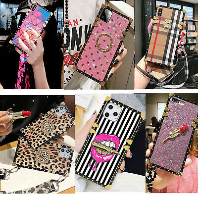 Luxury Flashing heart PU leather Plating Square Case For iPhone XSMax XR 6 7 8p