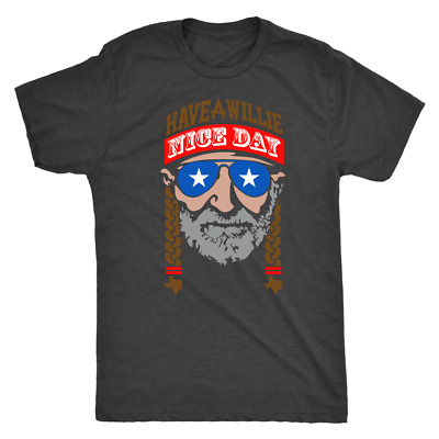 Willie Nelson Triblend T-Shirt Have a Willie Nice Day Mens Tees