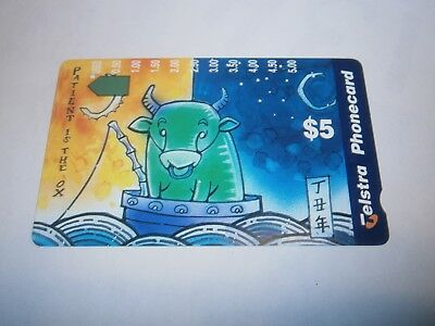 $5 Patient The Ox - Year Of The Ox Telstra Phonecard 1993 Rare - Free Postage
