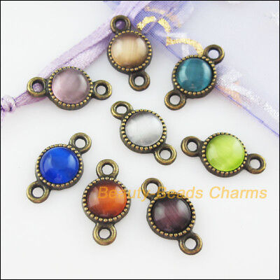 8 Mixed Retro Antiqued Bronze Cat Eye Stone Round Charms Connectors 10x18.5mm