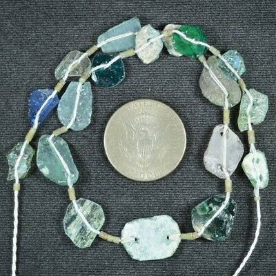 Ancient Roman Glass Beads 1 Medium Strand Aqua And Green 100 -200 Bc 831