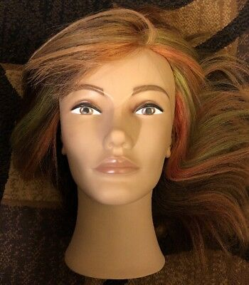 Maniquin Head Human Hair Beauty School  Teaching Aid Pre-owned!
