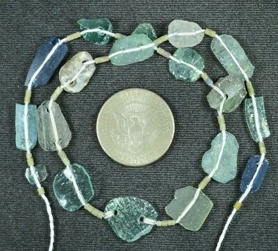 Ancient Roman Glass Beads 1 Medium Strand Aqua And Green 100 -200 Bc 832