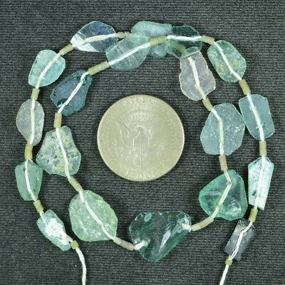 Ancient Roman Glass Beads 1 Medium Strand Aqua And Green 100 -200 Bc 833