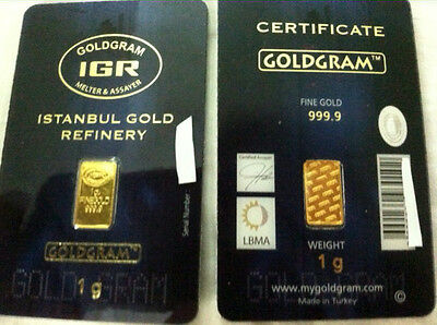 2 x 1 gram 24K 999 GOLD BULLION BAR LMBA CERTIFIED