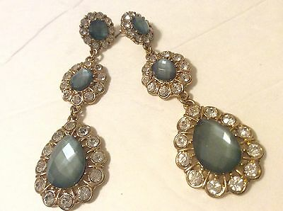 Vintage Sparkling Gold / Green And Clear Rhinestone Crystal Drop Earrings