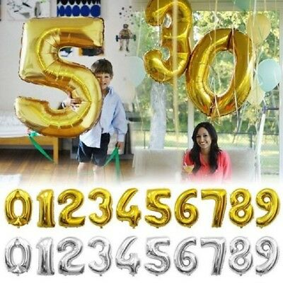 1Pcs Letter & Number Foil Golden Balloons Birthday Wedding Party Decoration