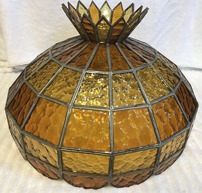 Vintage Large Leaded Stained Glass Light Shade 2 Colors Of Amber Crown 19""
