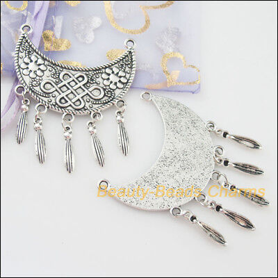 1Pc Tibetan Silver Tone Moon Flower Tassels Charms Connectors 49.5x63mm