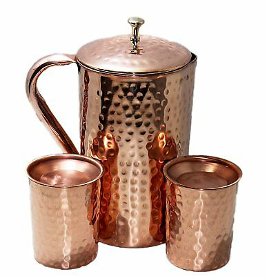 Pure Copper Pitcher Ayurveda Copper Jug Pitcher and 2 Tumbler With Lid Pure Copp