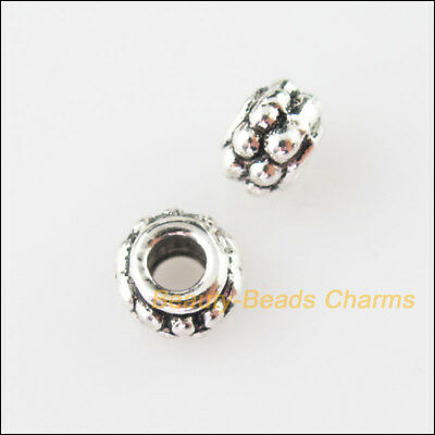 15Pcs Tibetan Silver Tone Tiny Round Dots Spacer Beads Charms 7mm