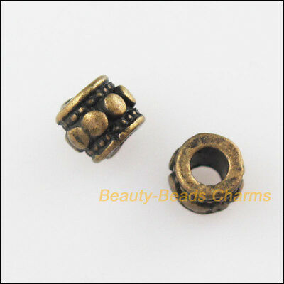 30Pcs Antiqued Bronze Tone Tiny Round Dots Spacer Beads Charms 4mm