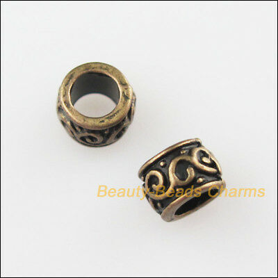 25Pcs Antiqued Bronze Tone Round Circle Spacer Beads Charms 5mm