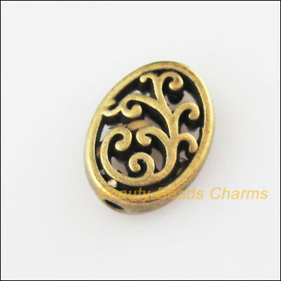 6Pcs Antiqued Bronze Tone Flower Oval Flat Spacer Beads Charms 9.5x12.5mm