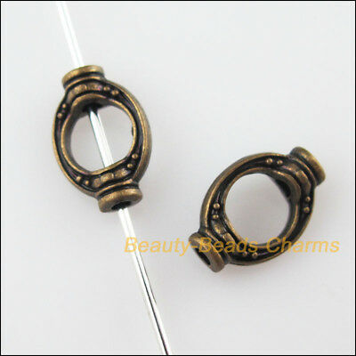15Pcs Antiqued Bronze Tone Oval Rice Spacer Beads Frame Charms 8x11.5mm