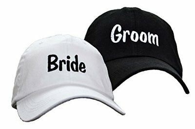 Bride and Groom Embroidered Wedding Caps Hat Set