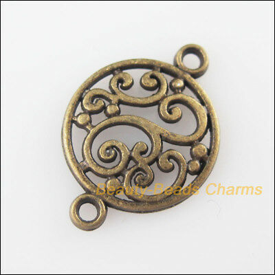 20Pcs Antiqued Bronze Tone Round Flower Charms Pendants Connectors 14x20.5mm