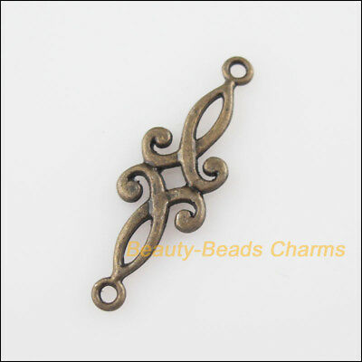18Pcs Antiqued Bronze Tone Flower Charms Pendants Connectors 9x29.5mm