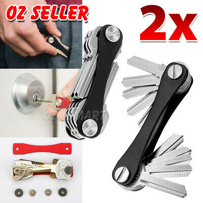 2-10 Keys Key Holder Compact Smart Organizer Pocket Size Ring Aluminium