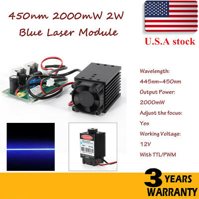Focusable PWM & TTL 2W 2000mW 450nm blue laser module Engrave Cutter Engraving