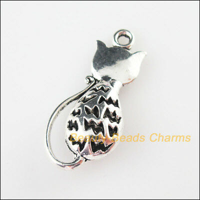 2 New Charms Animal Lovely Cat Tibetan Silver Tone Pendants 16.5x36mm