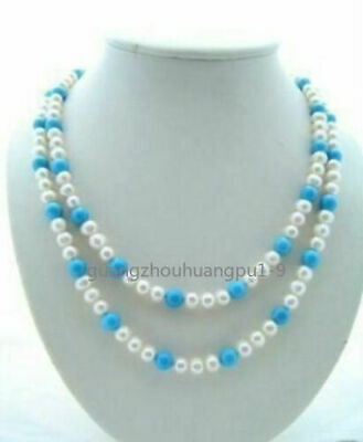 Beautiful Cultured Pearl Turquoise Necklace 32''