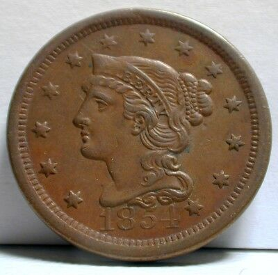1854 Braided Hair Large Cent Uncirculated Condition                     (RSZPD)