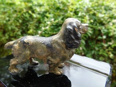 Bronze Cocker Spaniel Pen Holder Plinth Dog Cold Painted Springer