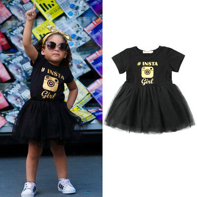 Kids Baby Girls Camera Tulle Bridesmaid Party Pageant Formal Tulle Dress Clothes