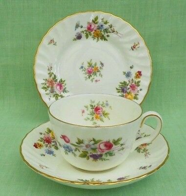Minton Marlow tea cup, saucer & plate trio - flat cup, bone china - S309