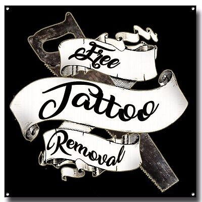 Free Tattoo Removal Metal Sign, Tattoo, Ink Shoe, Wall Decor, Wall Sign , Saw