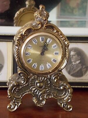 Stunning Vintage Ornate Brass CORAL Alarm Clock - Heavy with Key