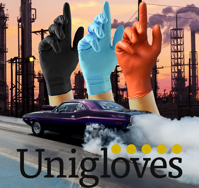 Box of 100 Heavy Duty Disposable Nitrile Gloves Mechanic Garage Auto Unigloves