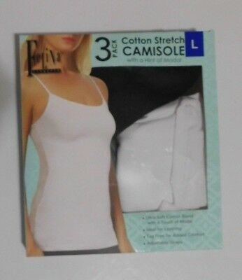 Felina Ladies' 3 pack Cotton Stretch Camisole Size Small Black White Gray NEW