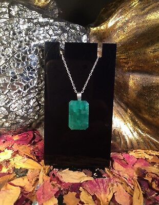 Impressive natural Emerald 16x20mm sterling silver faceted pendant necklace ❇️