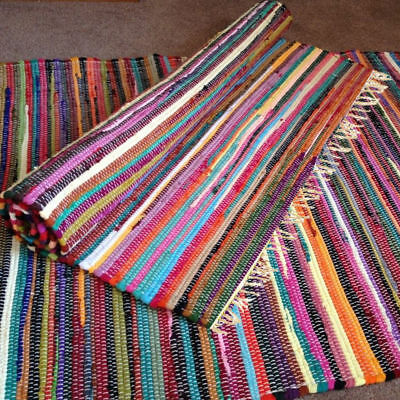 Indian Chindi Rag Rug Fair Trade Multi Colour Rugs Recycled Handmade Woven Mat E