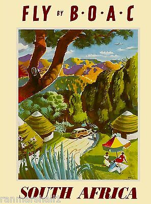 South Africa African by Airplane Vintage Travel Advertisement Art Poster 7