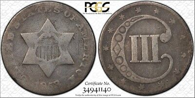 1853 3CS (three Cent) Antique US Silver Coin Key Date Rare PCGS G06 slabbed