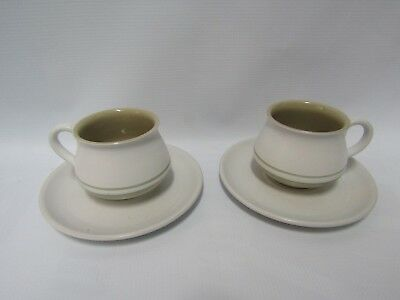 DENBY Made in England Stoneware Teacups and Saucers, Set of Two, Damaged. Retro.