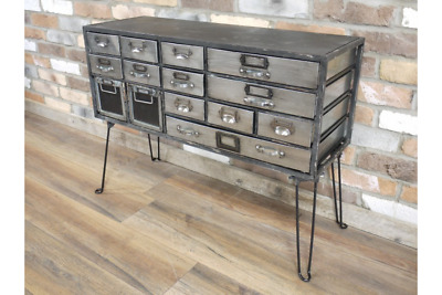 Industrial Black Silver Grey Metal Console Hall Table With Drawers (Dx5222)