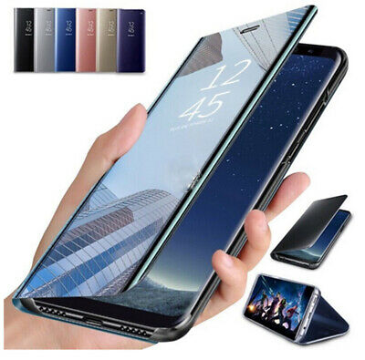 For Samsung Galaxy Note 10 S10 Plus A40 A50 Smart View Mirror Leather Flip Case