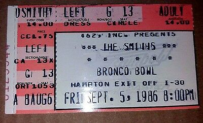 The Smiths. 1986 US Concert Ticket Stub. EXC. Bronco Bowl, Dallas TX 5th Sept