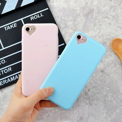 Candy Color Love Heart Matte Rubber TPU Soft Case Cover For iPhone X 8 6s 7 Plus