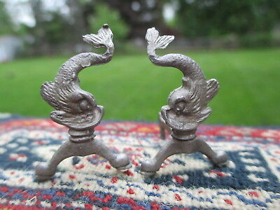 Dollhouse Miniatures ~  Artisan Pair of Pewter Dolphin Fish Andirons Fireplace