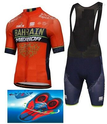 2018 TEAM BAHRAIN Merida Cycling Pro Sets 9d Gel Pad Quick Dry